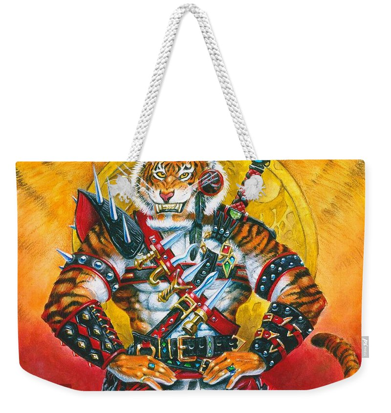Fantasy Weekender Tote Bag featuring the painting Werecat Warrior by Melissa A Benson