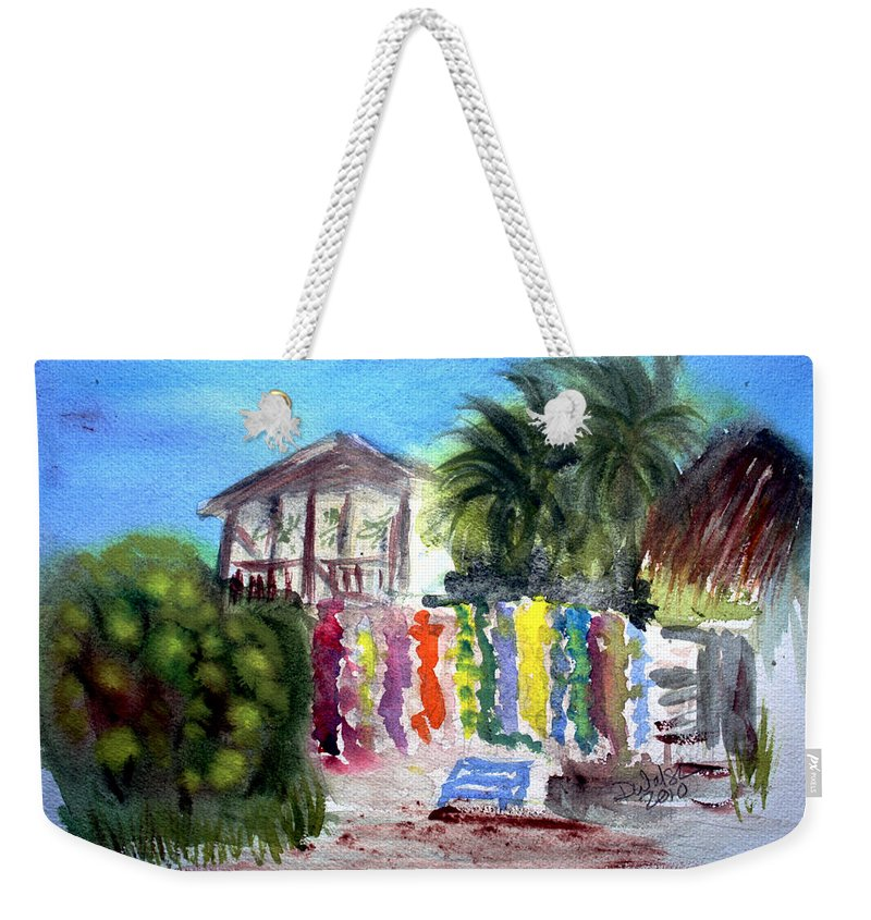West End Weekender Tote Bag featuring the painting West End Market by Donna Walsh
