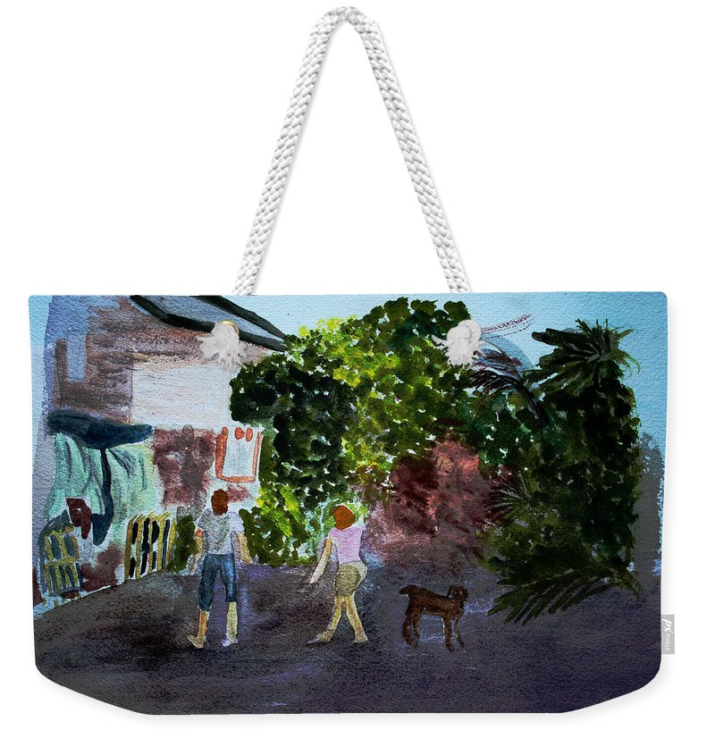 Landscapes Weekender Tote Bag featuring the painting West End Shopping by Donna Walsh