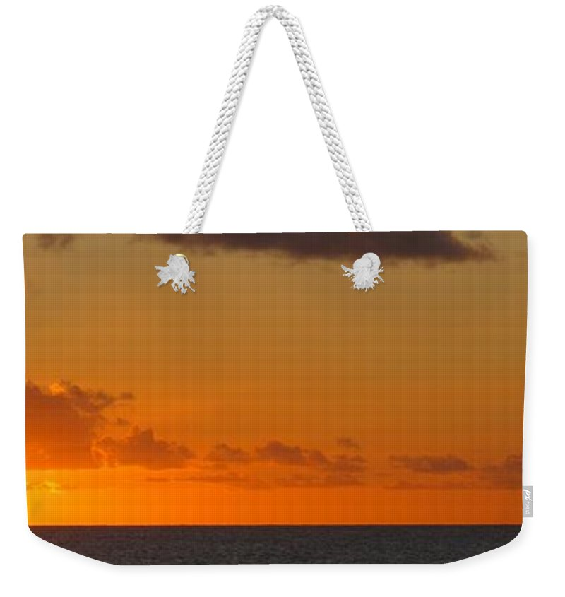 Sun Weekender Tote Bag featuring the photograph West From Frigate Bay by Ian MacDonald