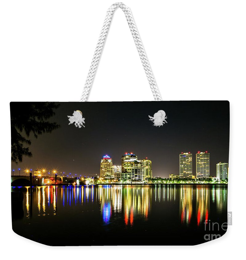 City Of West Palm Beach Panoramic At Dusk Weekender Tote Bag featuring the photograph West Palm Beach Downtown Panoramic by Rene Triay Photography