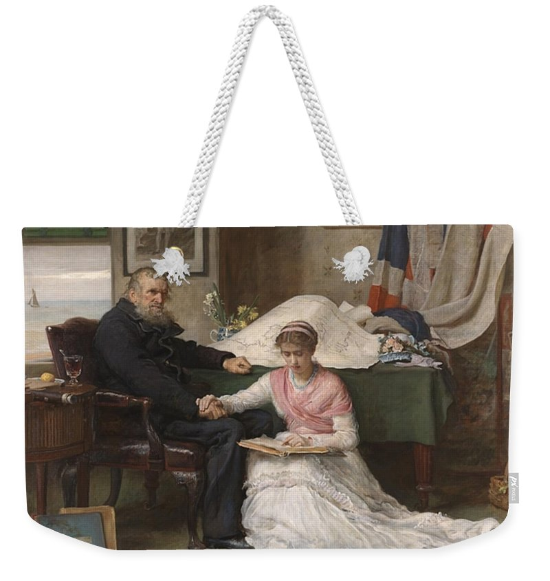 Sir John Everett Millais Weekender Tote Bag featuring the painting West Passage by MotionAge Designs