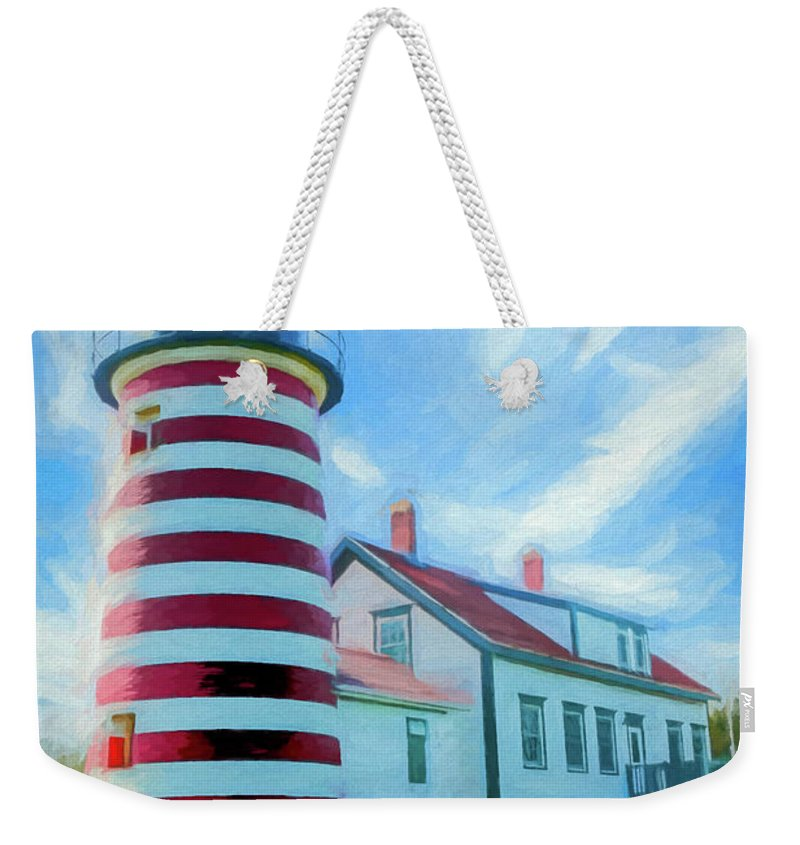 Maine Weekender Tote Bag featuring the digital art West Quaddy Head Lighthouse by Ronald Bolokofsky