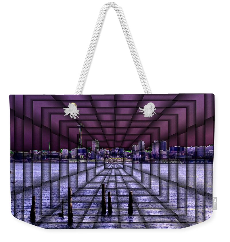 Seattlel Weekender Tote Bag featuring the digital art West Seattle Vortex by Tim Allen
