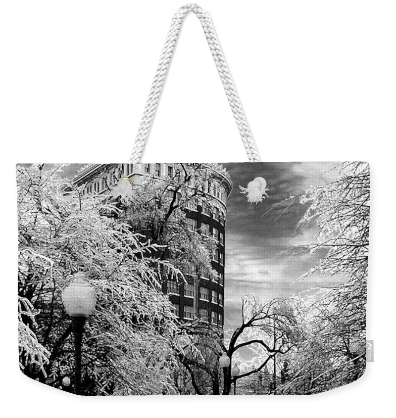 Western Auto Kansas City Weekender Tote Bag featuring the photograph Western Auto In Winter by Steve Karol