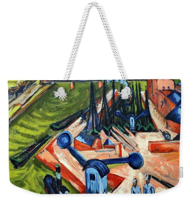 German Painters Weekender Tote Bag featuring the painting Western Harbour In Frankfurt by Ernst Ludwig Kirchner