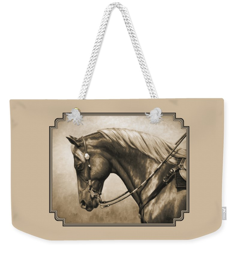 Horse Weekender Tote Bag featuring the painting Western Horse Painting In Sepia by Crista Forest