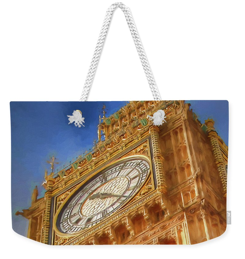 Uk Weekender Tote Bag featuring the digital art Westminster Clock Tower by Ronald Bolokofsky