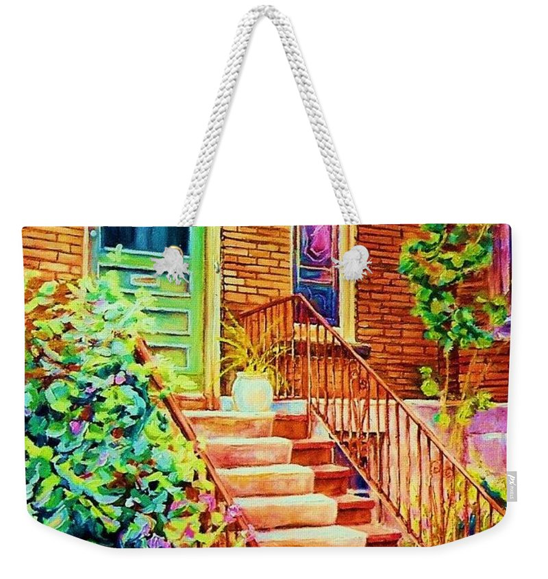 Westmount Home Weekender Tote Bag featuring the painting Westmount Home by Carole Spandau