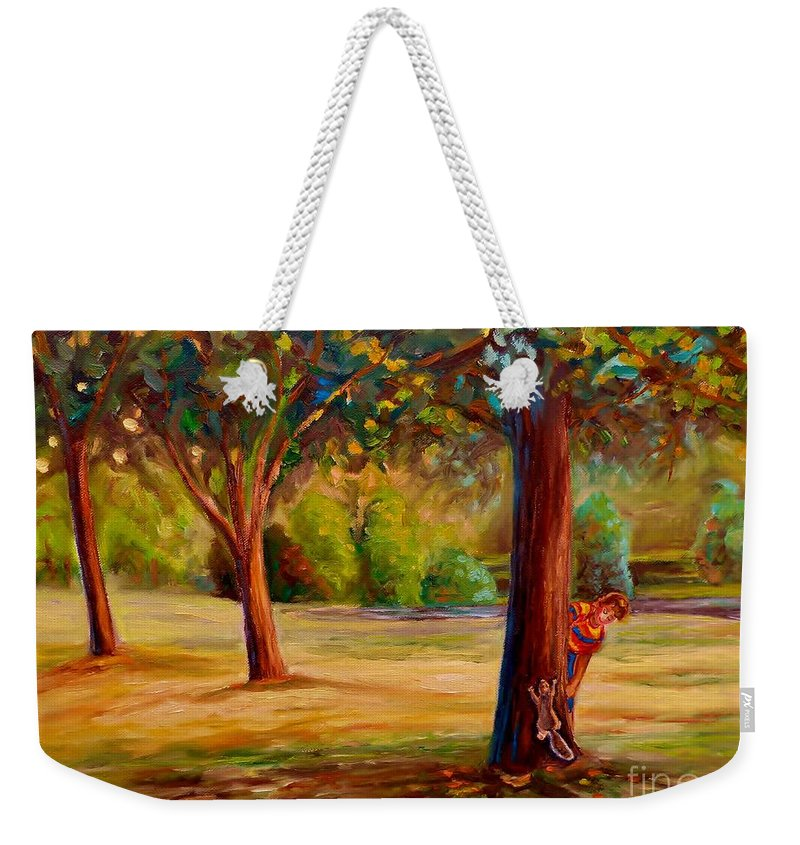 Montreal Weekender Tote Bag featuring the painting Westmount Park Montreal by Carole Spandau