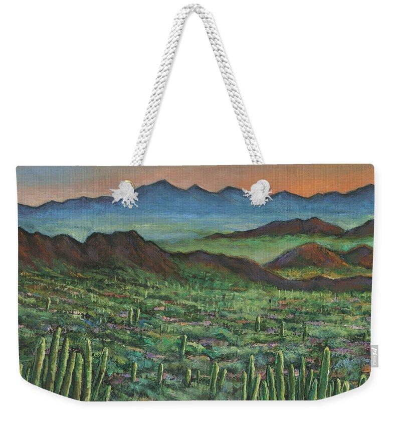 Arizona Weekender Tote Bag featuring the painting Westward by Johnathan Harris
