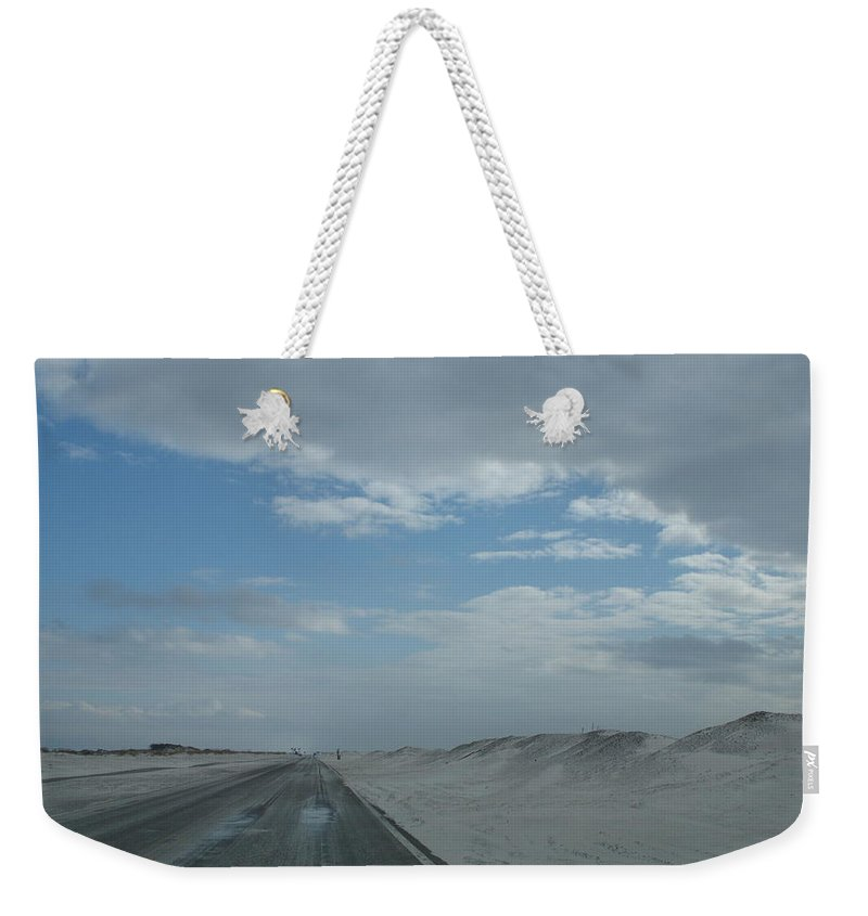 Sand Weekender Tote Bag featuring the photograph Wet Sand On Pensacola Beach Road by Christiane Schulze Art And Photography