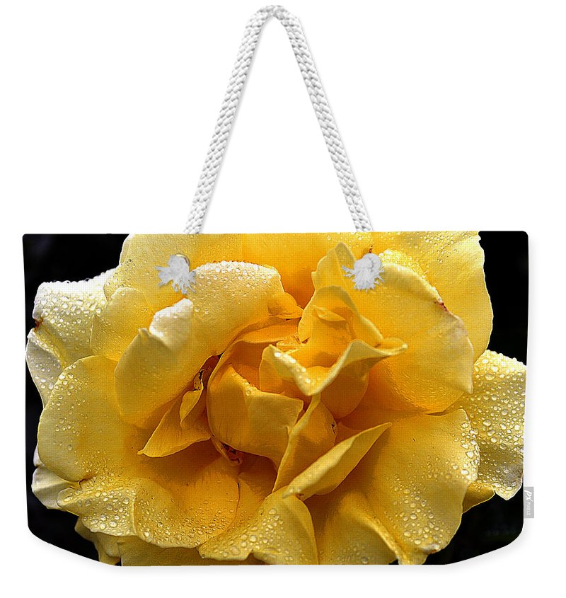 Clay Weekender Tote Bag featuring the photograph Wet Yellow Rose II by Clayton Bruster