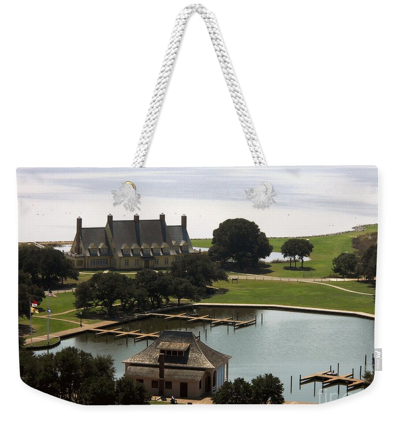 Landscape Weekender Tote Bag featuring the photograph Whalehead Club And Boathouse by Paulette B Wright