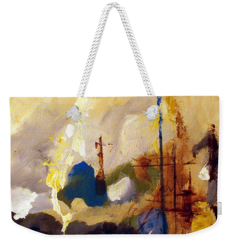Abstract Weekender Tote Bag featuring the painting Wharf by Ruth Palmer