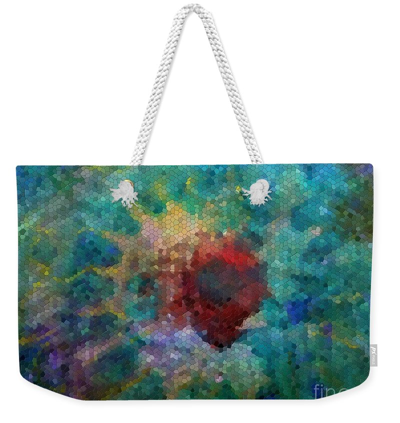 Mosaic Weekender Tote Bag featuring the digital art What A Bee Sees by Claire Bull