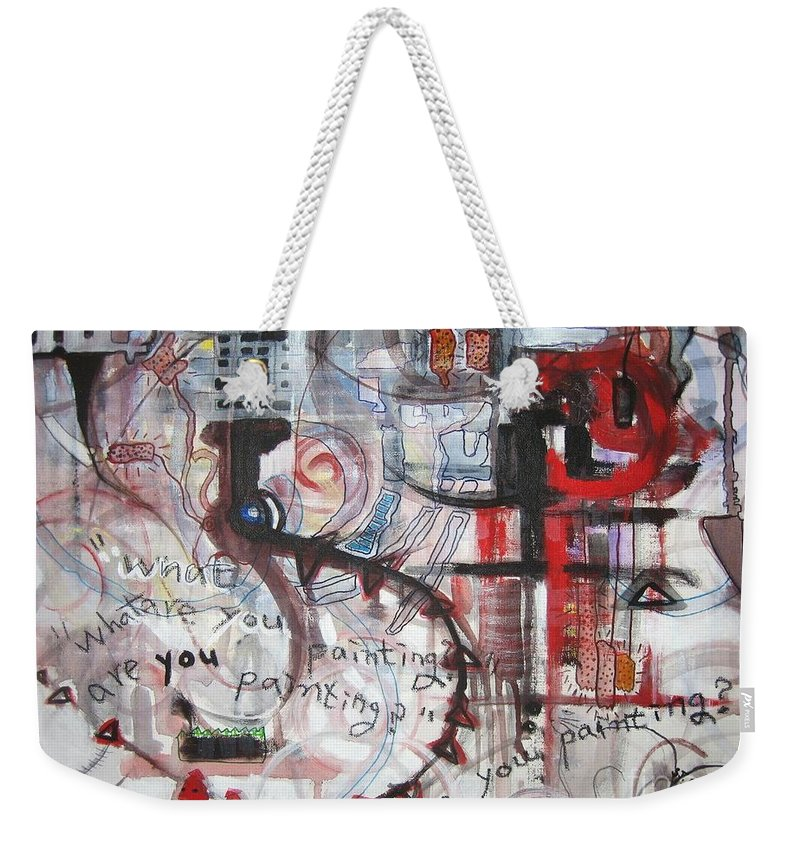 Abstract Paintings Weekender Tote Bag featuring the painting What Are You Painting-red And Brown Painting by Seon-Jeong Kim