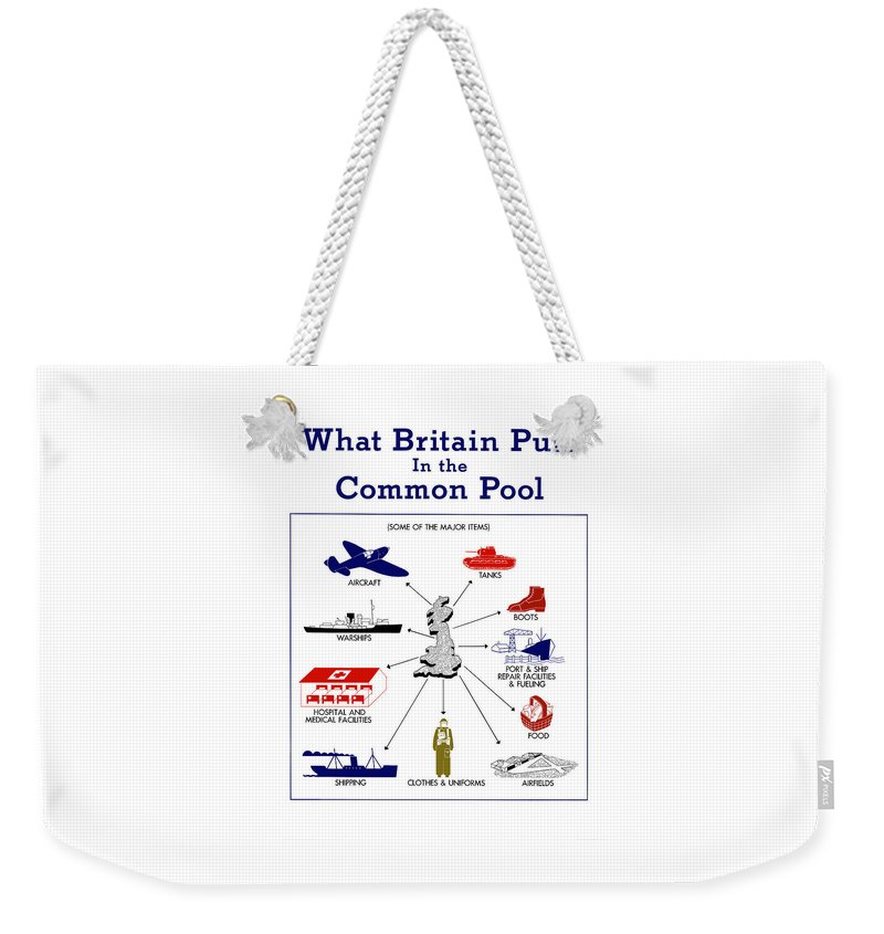 Wwii Weekender Tote Bag featuring the mixed media What Britain Puts In The Common Pool by War Is Hell Store