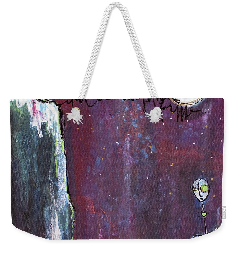 Moon Weekender Tote Bag featuring the painting What I Connect To Most Of All by Laurie Maves ART