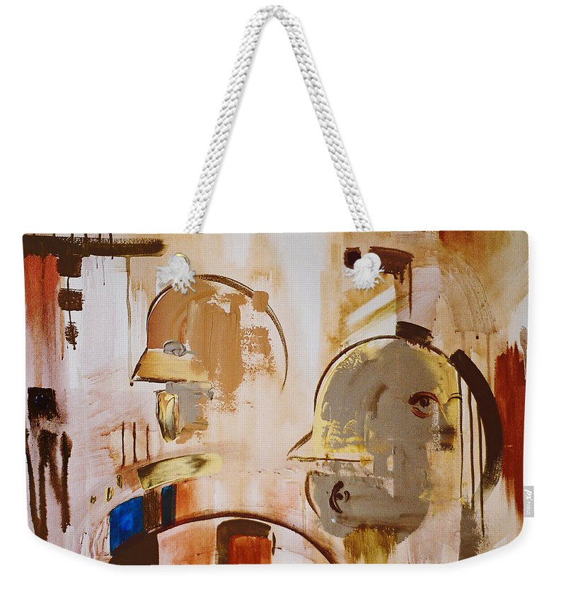 Abstract Weekender Tote Bag featuring the painting What is Identity by Stephen Lucas