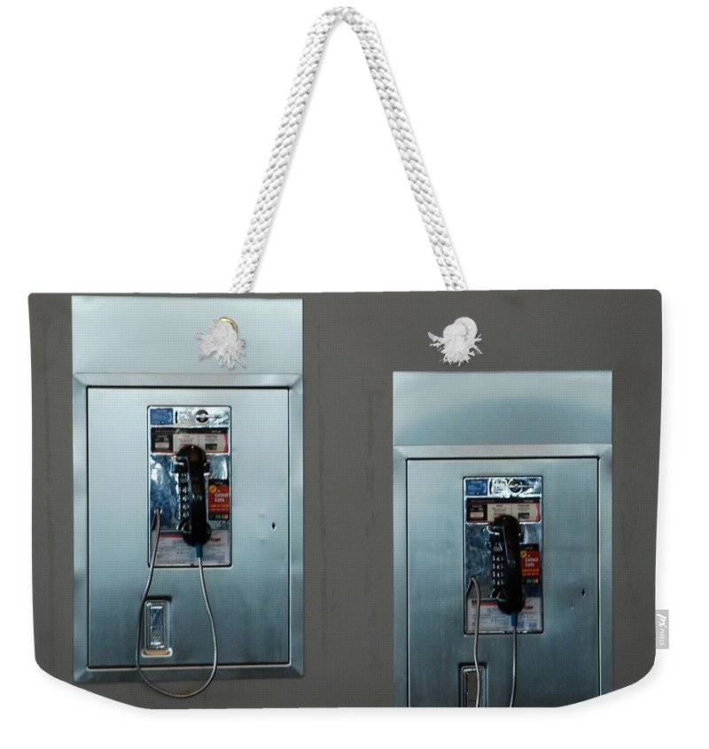 Pay Phones Weekender Tote Bag featuring the photograph What Is That Dad .... Why It Is A Pay Phone Son by Rob Hans