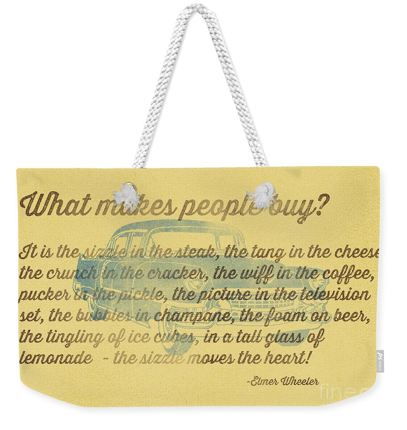Sales Weekender Tote Bag featuring the photograph What Makes People Buy by Edward Fielding