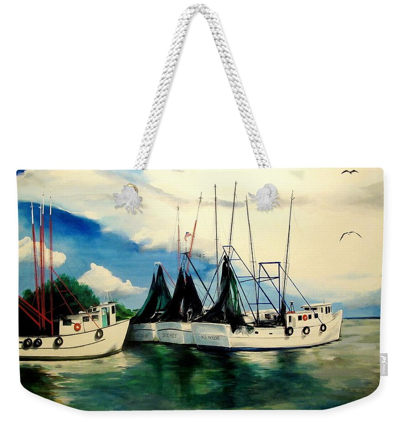 Shrimp Boats Weekender Tote Bag featuring the painting What Once Was by John Duplantis