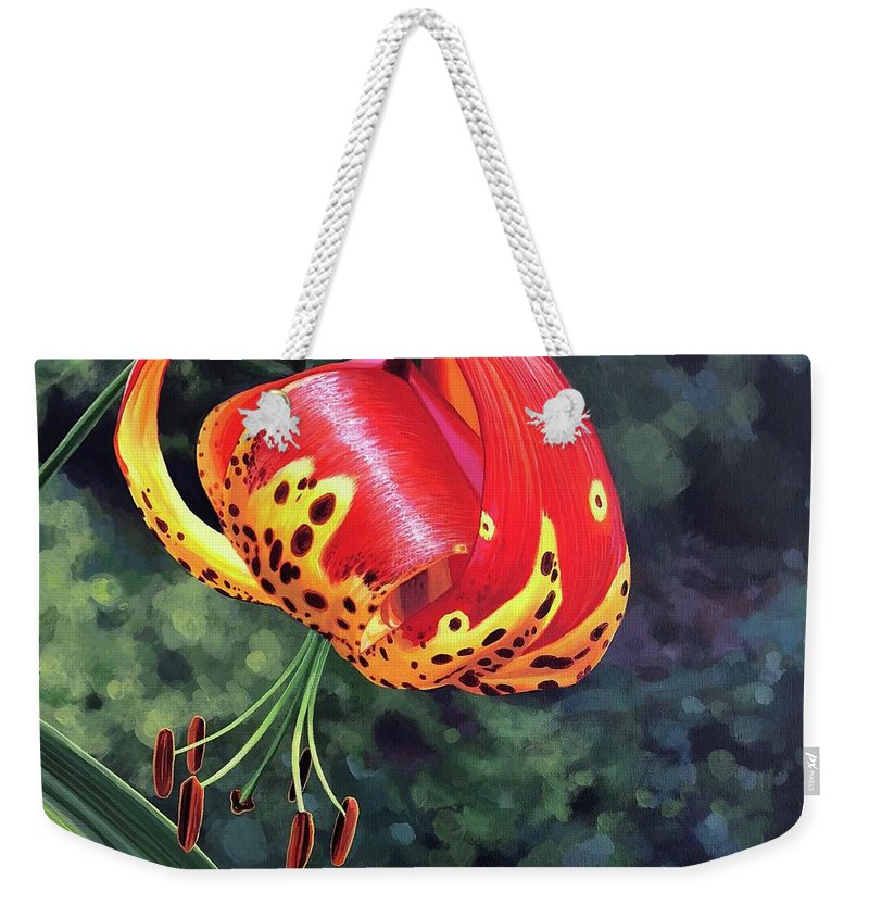 Tigerlily Weekender Tote Bag featuring the painting What's Up, Tigerlily? by Hunter Jay