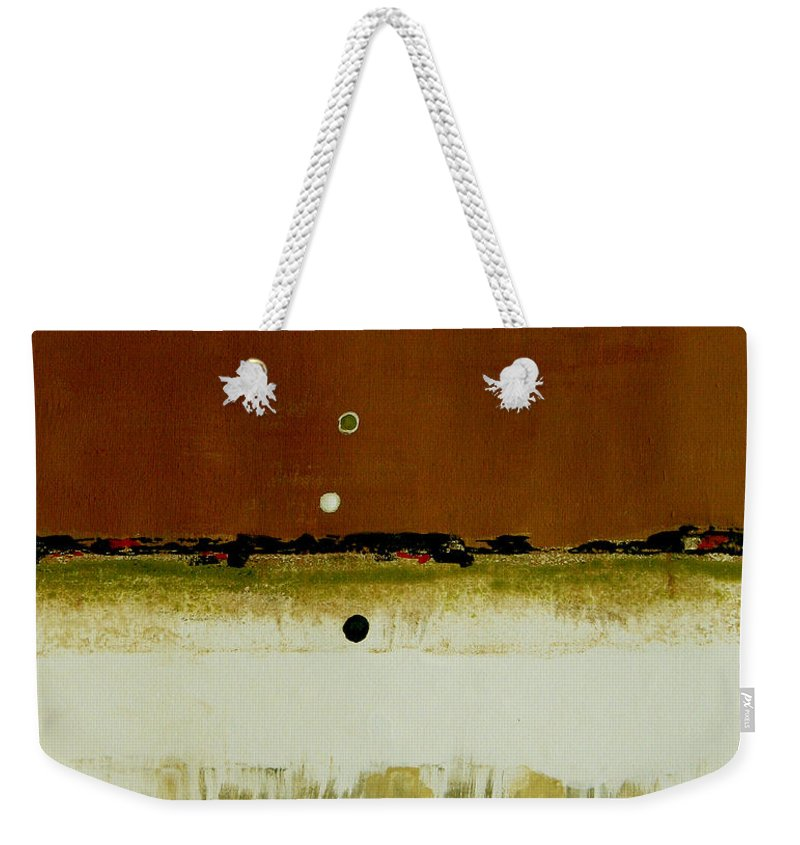 Abstract Weekender Tote Bag featuring the painting Whats Your Line by Ruth Palmer