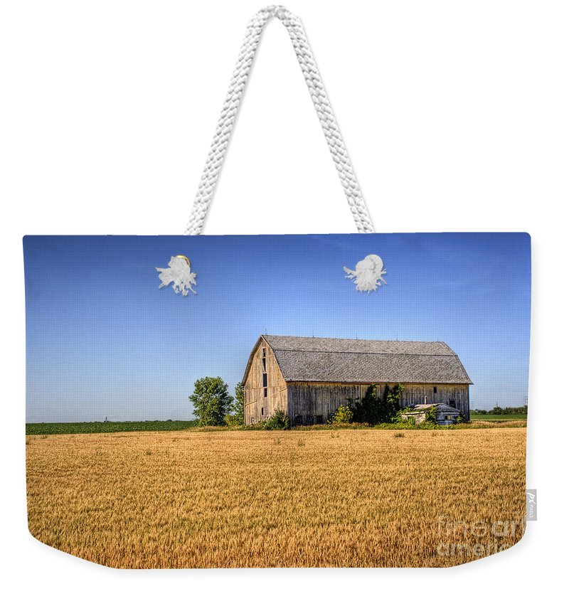 Barn Weekender Tote Bag featuring the photograph Wheat Field Barn by Joel Witmeyer