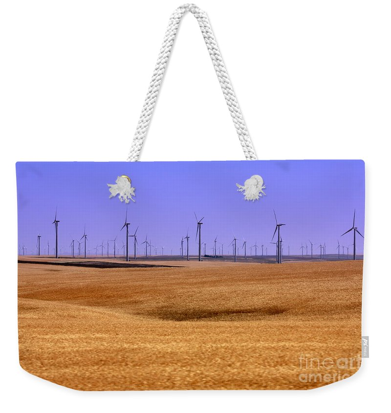 Wind Turbines Weekender Tote Bag featuring the photograph Wheat Fields And Wind Turbines by Carol Groenen