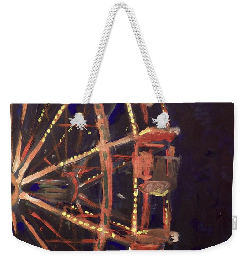 Ferris Wheel Weekender Tote Bag featuring the painting Wheel by Joseph A Langley