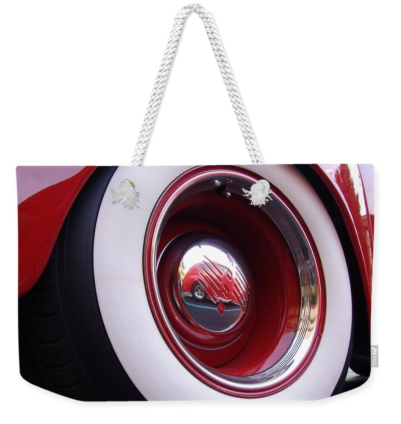 Classic Car Weekender Tote Bag featuring the photograph Wheel Reflection by Carol Milisen