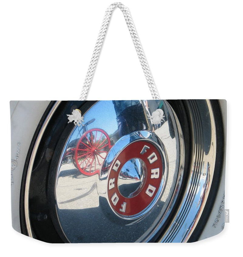 Ford Weekender Tote Bag featuring the photograph Wheels by Kelly Mezzapelle