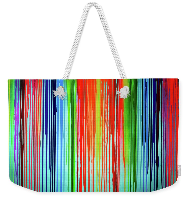 Rainbow Weekender Tote Bag featuring the painting When A Rainbow Cry - Rainbow Tears by Tiberiu Soos