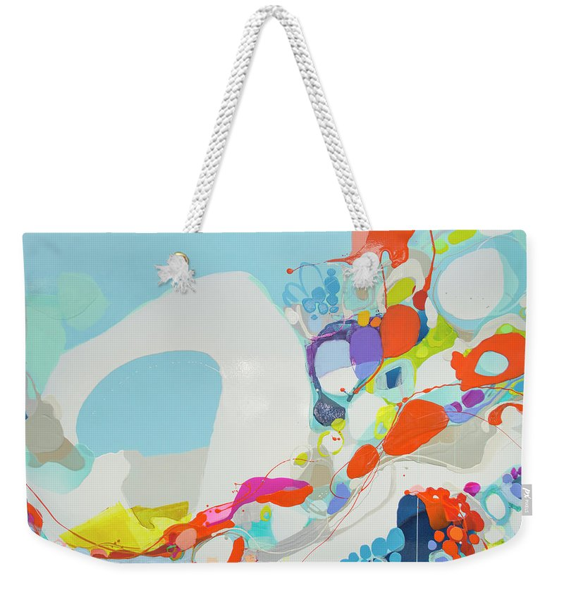 Abstract Weekender Tote Bag featuring the painting When Alexa Moved In by Claire Desjardins