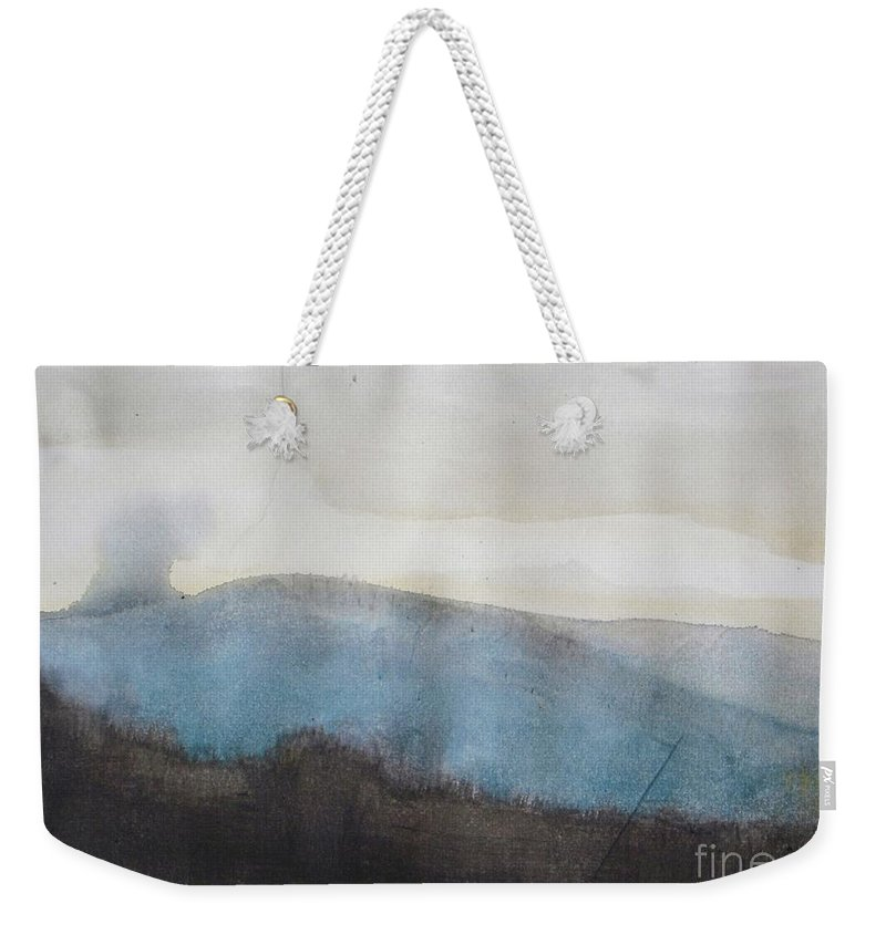 Landscape Weekender Tote Bag featuring the painting When Etna Idle by Vesna Antic