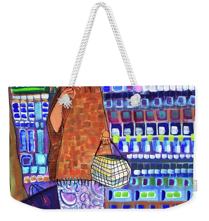 Whimsical Weekender Tote Bag featuring the painting When I Was Cool by Donna Howard