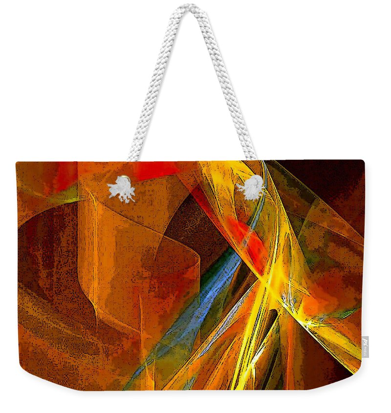 Abstract Weekender Tote Bag featuring the digital art When Paths Cross by Ruth Palmer