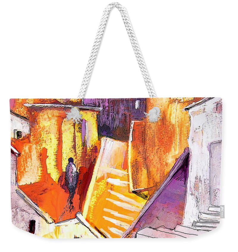 Townscape Weekender Tote Bag featuring the painting When The Cat Is Away The Mice Will Dance by Miki De Goodaboom