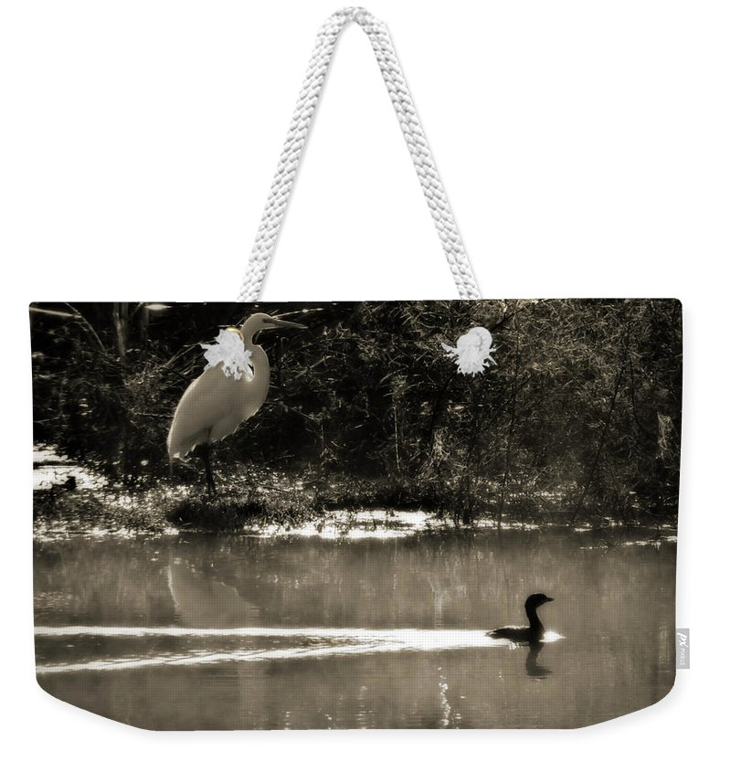 American Egret Weekender Tote Bag featuring the photograph When The Morning Fog Lifted by Steven Sparks
