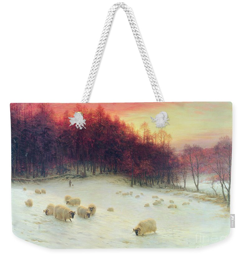 Forest Weekender Tote Bag featuring the painting When the West with Evening Glows by Joseph Farquharson