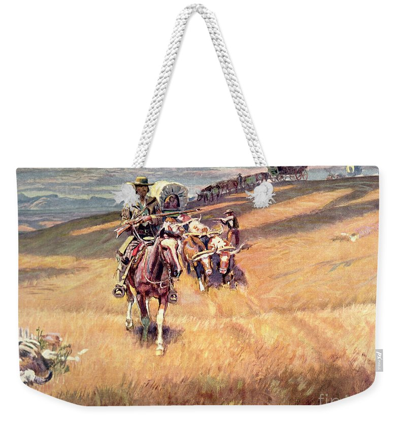 American Weekender Tote Bag featuring the painting When Wagon Trails Were Dim by Charles Marion Russell