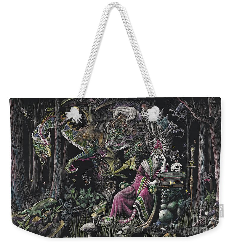 Dragon Weekender Tote Bag featuring the drawing When Wizards Dream by Stanley Morrison