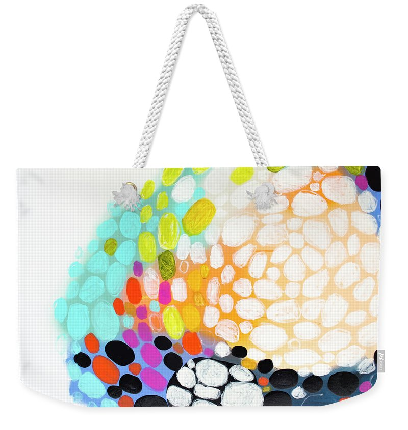 Abstract Weekender Tote Bag featuring the painting When You Get Home by Claire Desjardins