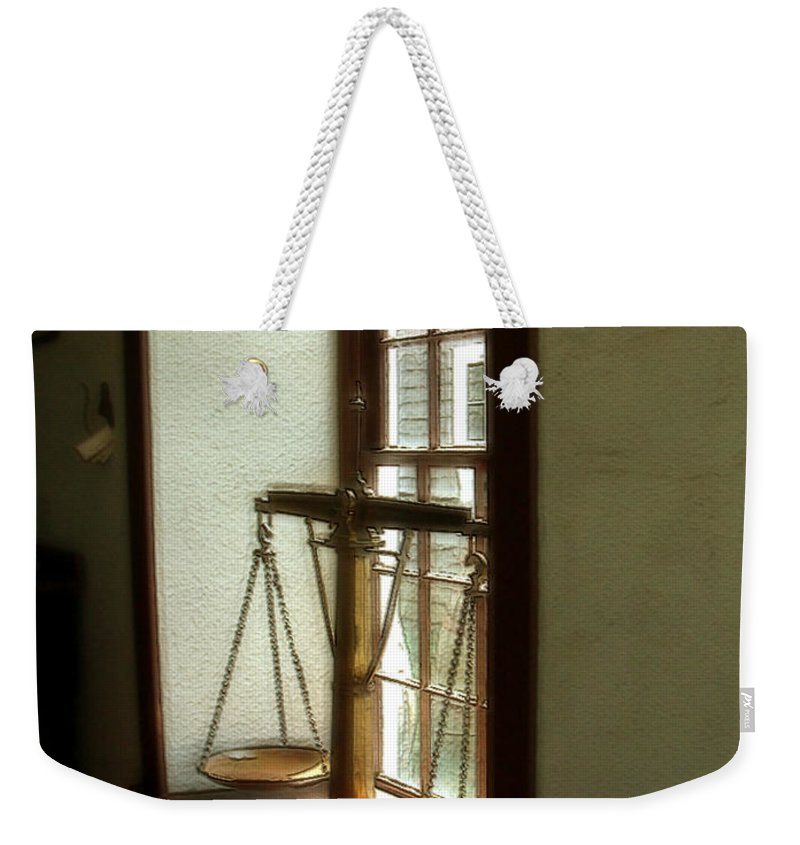 Window Weekender Tote Bag featuring the painting Where Be His Quiddits Now? by RC DeWinter