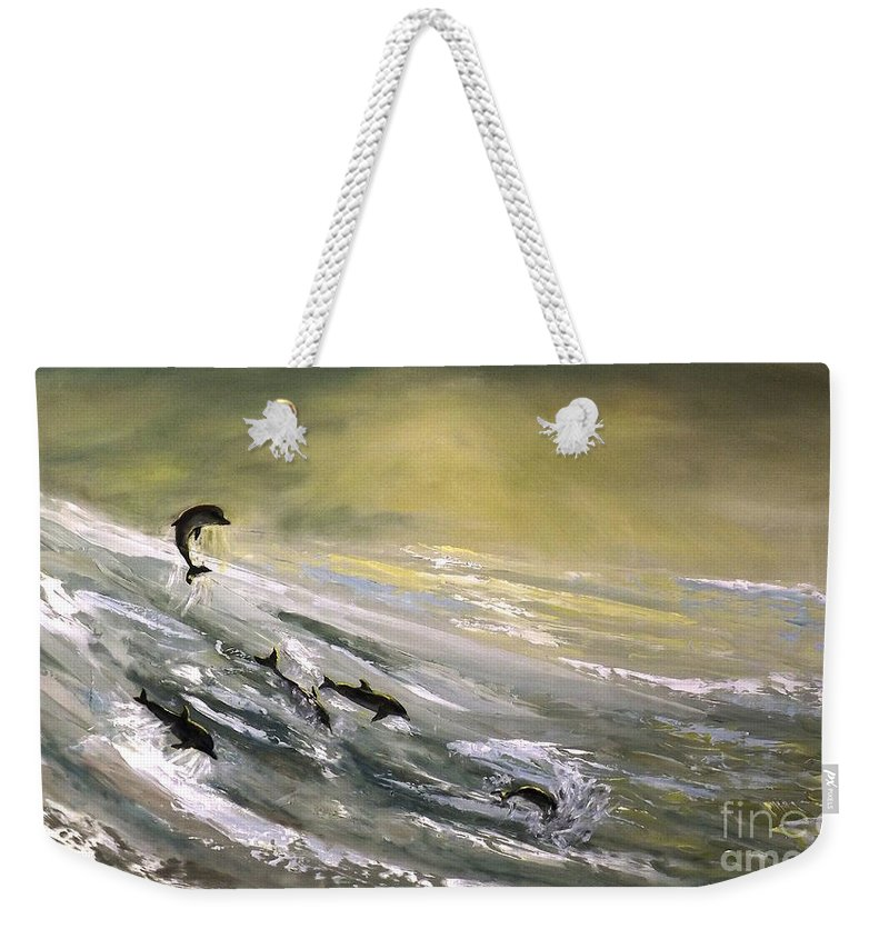Dolphin Weekender Tote Bag featuring the painting Where Dolphins Play by Donna Vesely