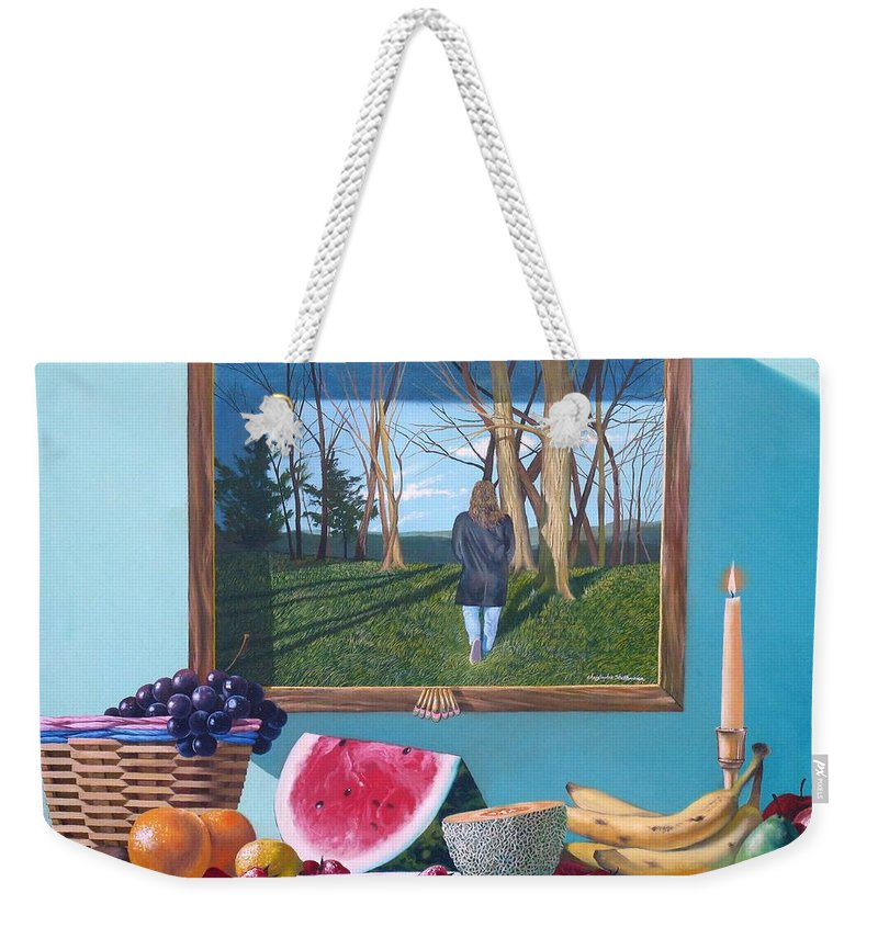 Fruit Weekender Tote Bag featuring the painting Where Fruit Of Life Lies Within by Christopher Shellhammer