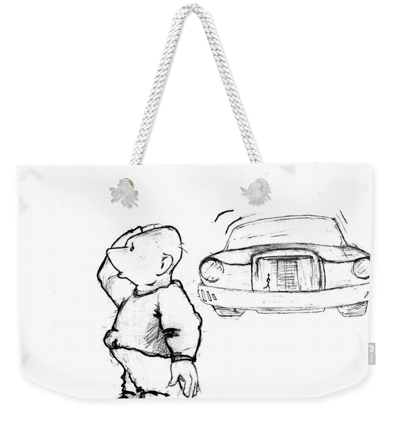 Man Weekender Tote Bag featuring the drawing Where I Am... by Line Gagne