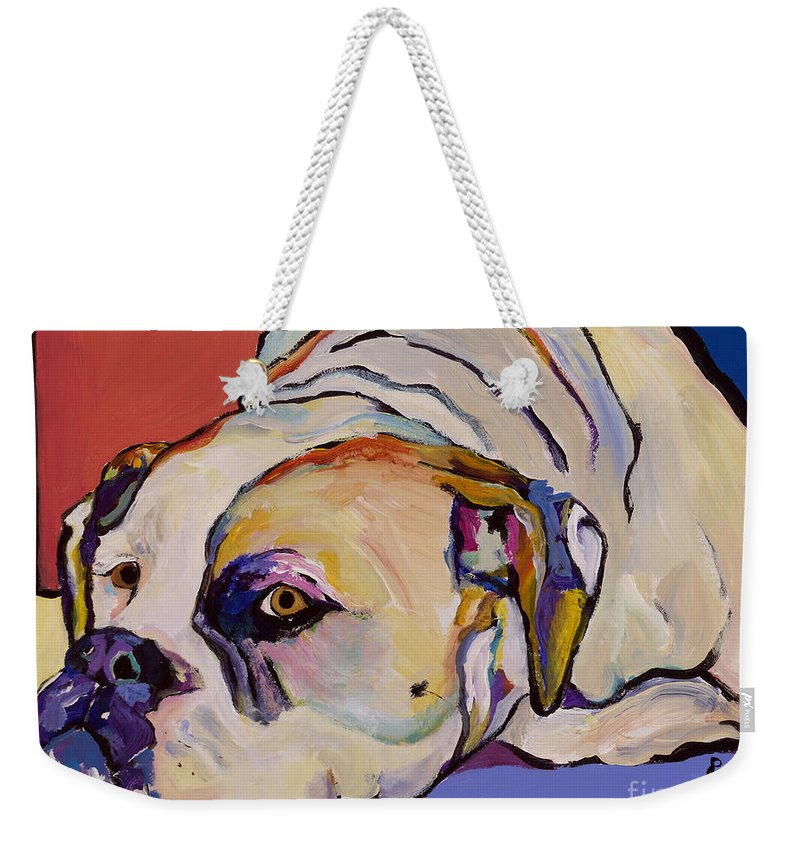 American Bulldog Weekender Tote Bag featuring the painting Where Is My Dinner by Pat Saunders-White